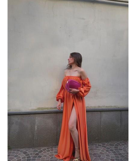 Satin Orange Dress