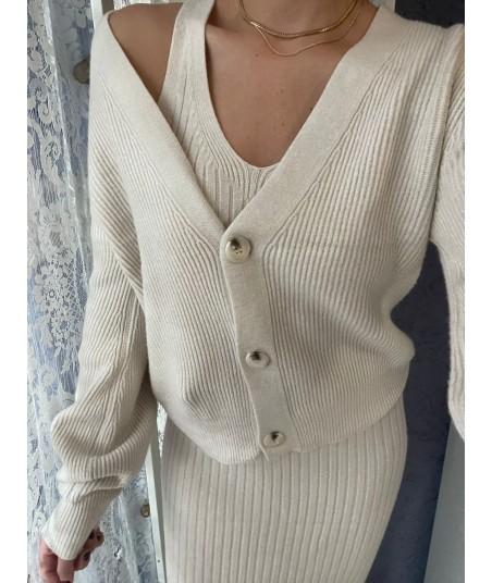 Cozy Set Cardigan + Long Dress