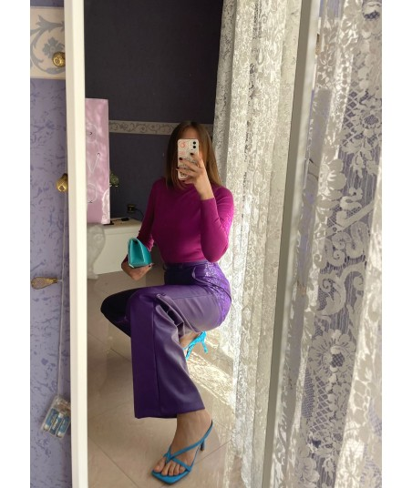 Pantaloni Similpelle Viola