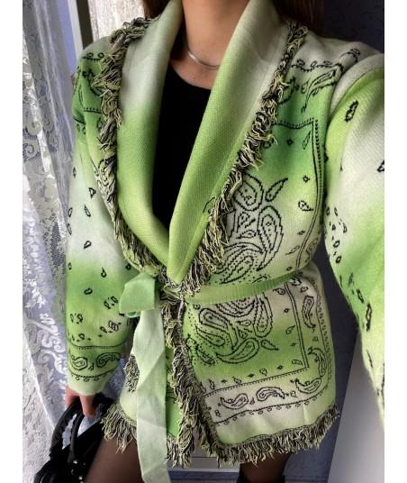 Lime Green Ethnic Cardigan