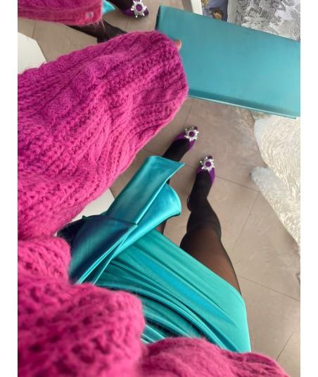 Satin Turquoise Skirt